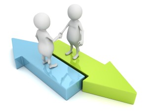 3d people shaking hands on arrows. business partnership concept